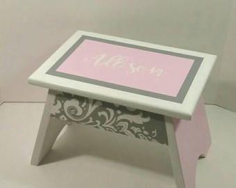 Pink and Grey Damask Footstool - Kids Step Stool - Damask Decor - Bedroom Stool - Bathroom Stool - Bathroom Decor - Damask Nursery