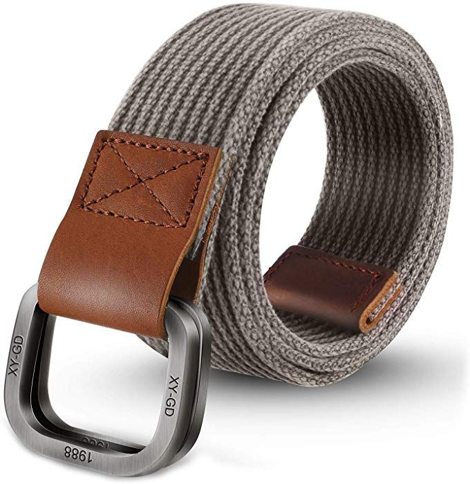 Men S Canvas Belt Military Style Double D Ring Buckle Trimming