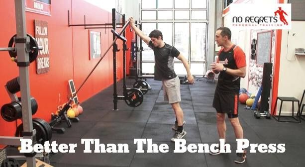 """One of the most over used exercises in the gym would have to be the bench press. Almost every guy wants to have elusive Bigger, Stronger Chest and Shoulders but what if I told you could achieve that without ever actually doing the traditional exercise """"the bench press""""? And what if I told you that you could also build incredible leg strength and skill at the same time? Well the picture is just one of many versions that can do this. See link for more information..."""