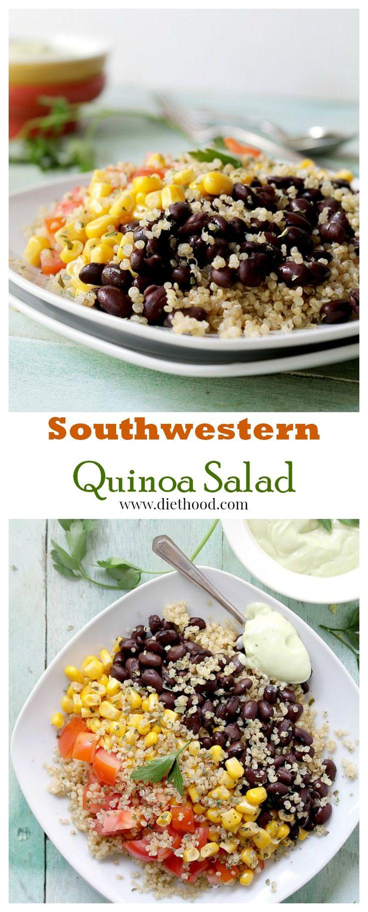 Southwestern Quinoa Salad with Creamy Avocado Dressing | www.diethood.com | #recipe #quinoa #salad