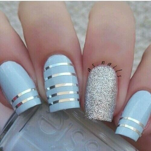 Blue Silver Striped Nails nails nail art nail ideas nail designs nail pictures