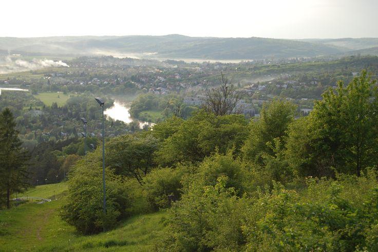 """Widok ze stoku na dolinę Sanu. W głębi widoczne wzniesienie z fortem nr VII1/2 """"Tarnawce"""""""