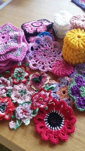 This is what my lounge coffee table looked like after a Christmas of crochet!