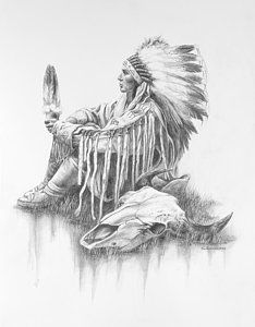 Native American Art Drawing - He Who Seeks A Vision by Kim Lockman kp