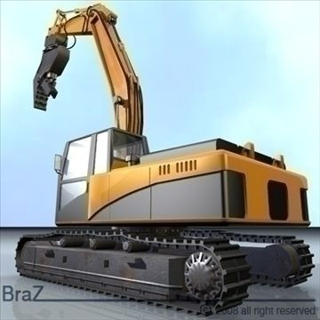 Hydraulic Excavators 3D Model-   Detailed model of Hydraulic Excavatorseach movable component.Polygons 58887Vertices 56624If you like the model please rate it. - #3D_model #Construction