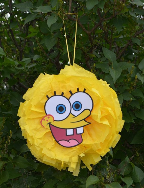 Spongebob Inspired Character Tissue Paper Hanging Pom Pom Party Birthday Decoration on Etsy, $10.00
