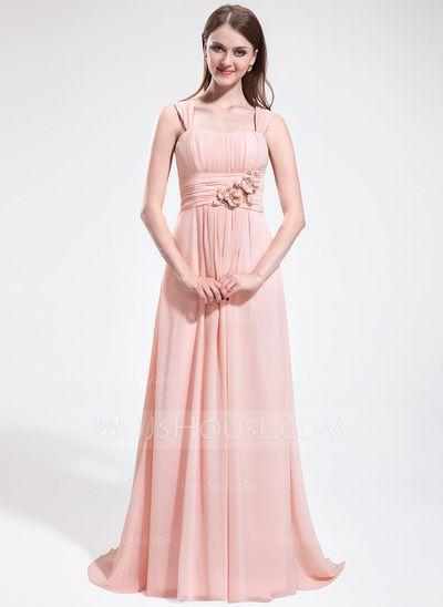 Forme Princesse Bustier en coeur Traîne balais Mousseline Robe de demoiselle d'honneur avec Plissé Emperler Fleur(s) (007025610)