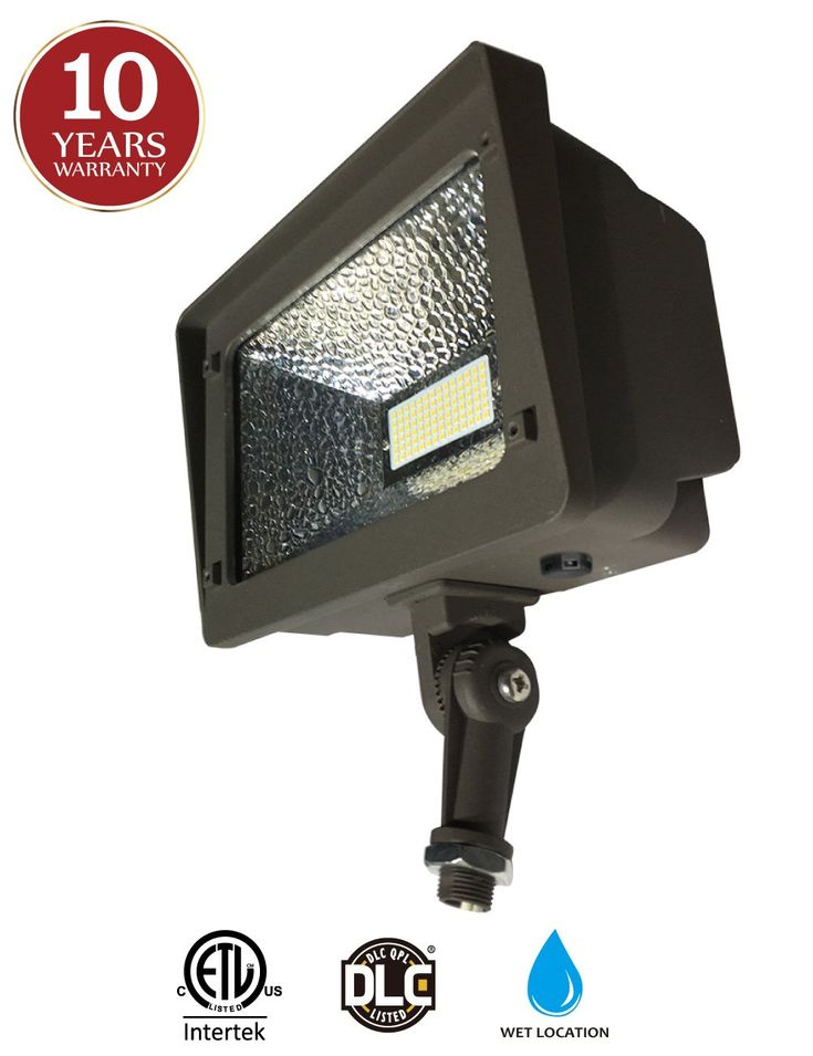 LED Flood Light with 180° Adjustable Knuckle, 50W Security Lights IP65 Waterproof Outdoor Lighting, 250W Equivalent, 5000K 5500lm 100-277Vac, ETL Qualified DLC Listed 10-Year Warranty (No Photocell)