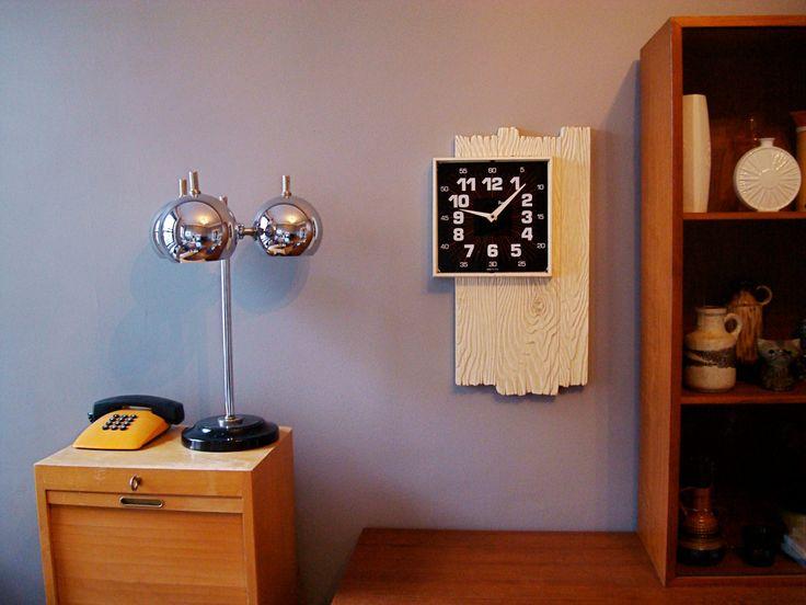 Amazing '70s Black & White Burwood faux PLANK of wood CLOCK. $85.00, via Etsy.