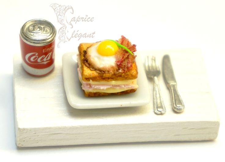 Miniature Food Croque Madame en pâte polymère par Tania Villard Hirsig