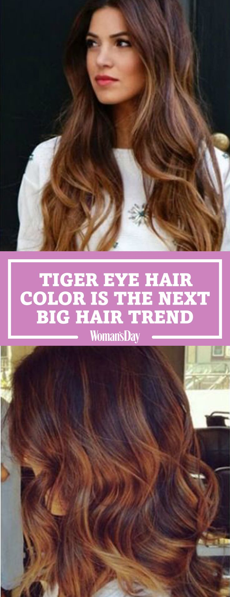 """The """"Tiger Eye"""" hair color trend is officially the next balayage. This hair color is STUNNING and doesn't require any touch-ups. This latest fall hair trend blends a gorgeous mix of warm brown and caramel highlights."""
