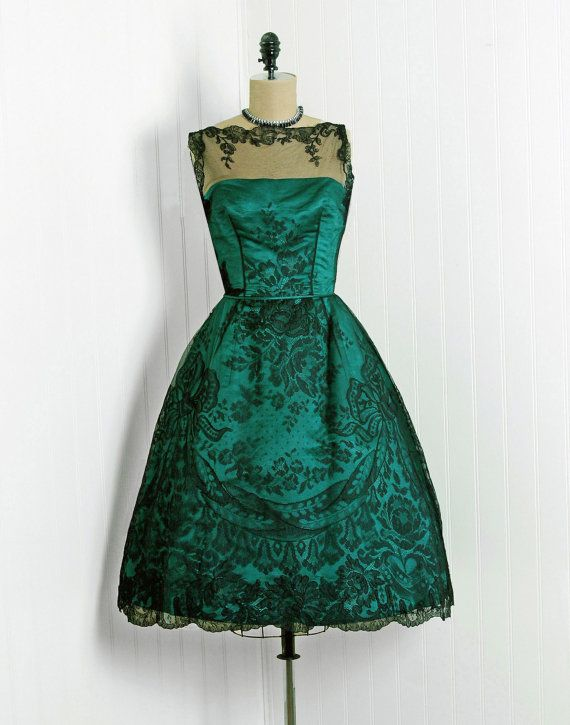 1950's Vintage Harvey Berin Designer-Couture Black Chantilly-Lace & Emerald-Green Satin Sheer-Illusion Bombshell Full-Skirt Prom Party Dress