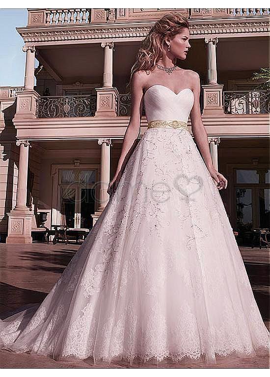 Perlen Herz-Ausschnitt A-Linie Spitze Satin aufgeblähtes bodenlanges Brautkleider
