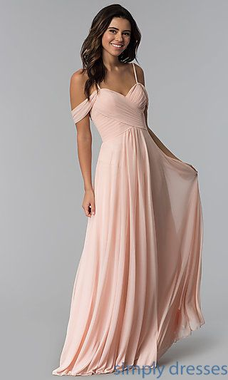 1e6b7eea535 Shop long chiffon bridesmaid dresses under  200 at Simply Dresses. Cold- shoulder evening dresses and chiffon formal dresses with pleated sweetheart  ...
