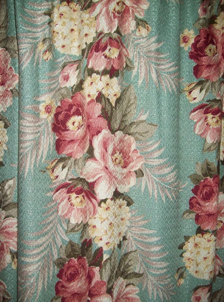 Vintage Barkcloth Pair Curtains Aqua Pink Roses Panels