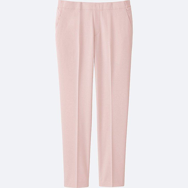 UNIQLO women ankle length trousers in light pink, work with sneakers and high heels, extra sizes. Also in white, grey, navy, black.