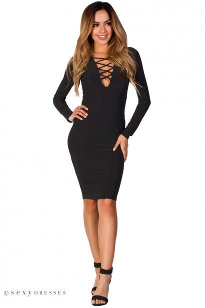 """Cordelia"" Black Plunging Lattice Cut Out Long Sleeve Bodycon Midi Dress"