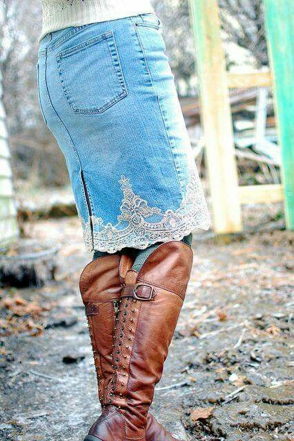 Short Jean Skirt w/ Lace detailing On The Bottom, w/ High Brown Boots