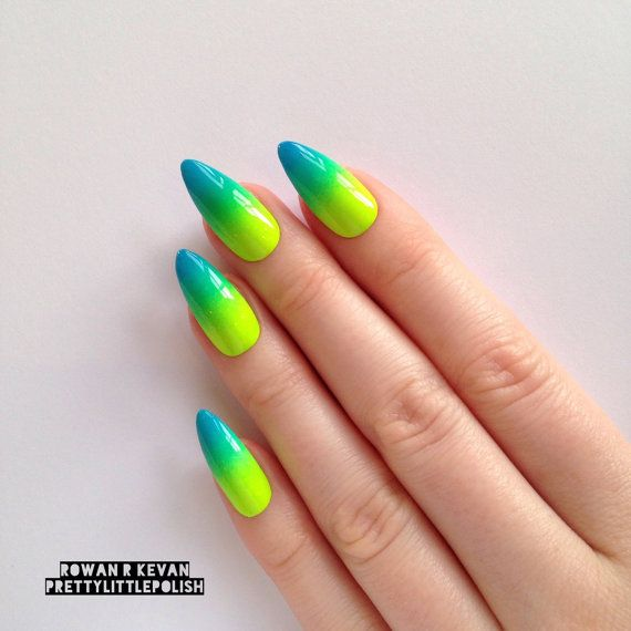 Neon Summer Ombre Gradient Stiletto nails by prettylittlepolish