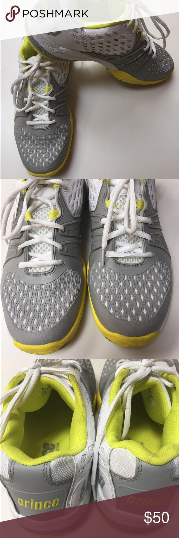 Ladies Prince Tennis Court Shoes size 9.5 Prince Warrior Ladies tennis court shoes worn once!!  Grey white citron. Recommended online to order half size up. Shoe runs true to size so I ordered again in my true size.  These are beautiful shoes.   Retails 109.99. Comes with grey laces as well. Prince Shoes Athletic Shoes