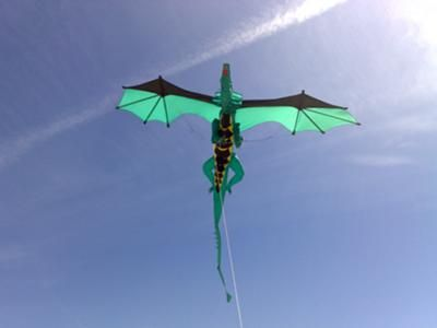 Kite maker said...Dragon in flight. This 23 ft dragon kite took me about 4 months to design and make and over 30 hrs to sew it. I have shown it in the past at Weymouth and Bristol kite festivals.