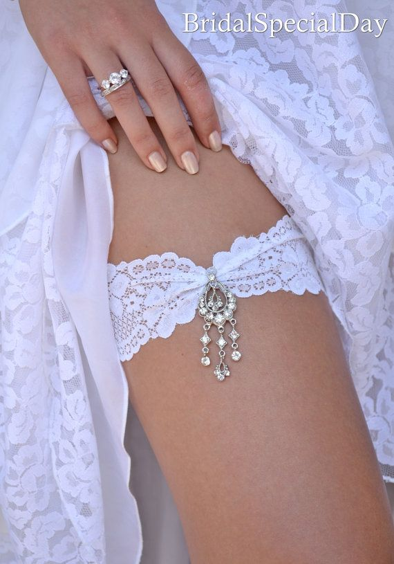 White Wedding Garter Set Stretch Lace Bridal Garter With Rhinestone Dangle Charm - Handmade Wedding Accessories