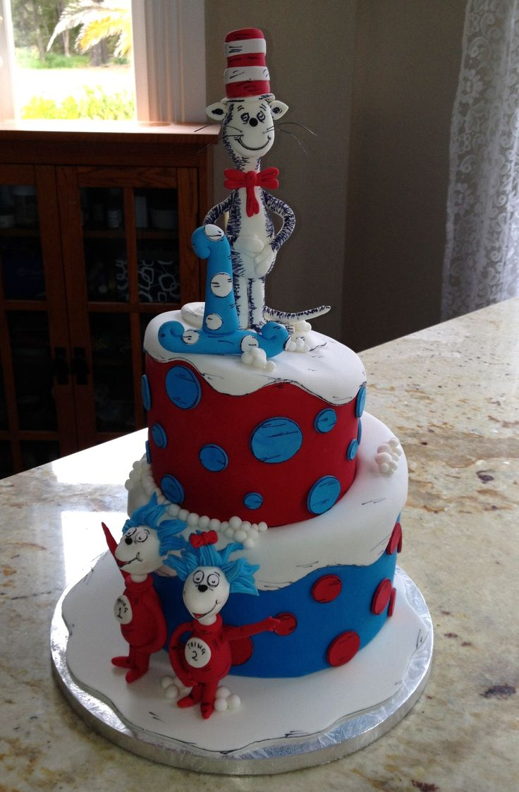 Dr Seuss themed cake for 1 year old twins