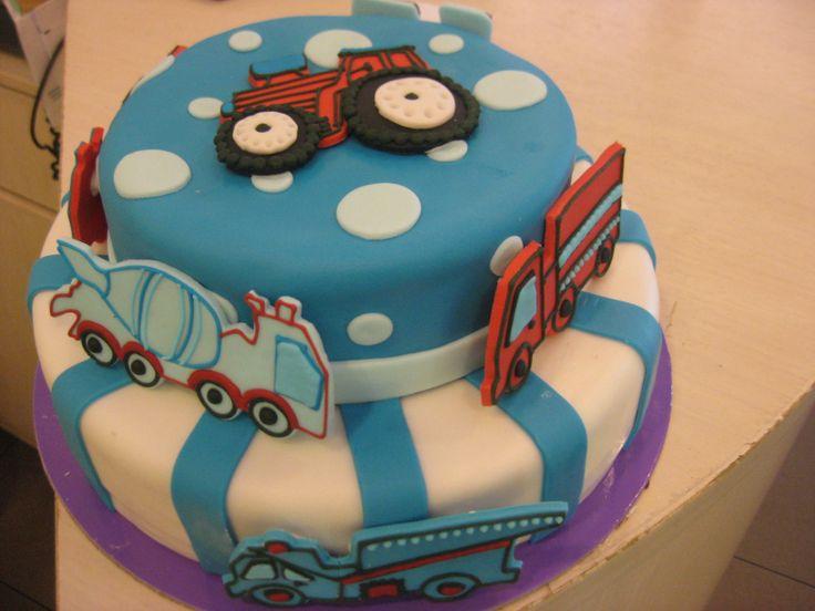 Τούρτες Γενεθλίων - Διόροφη με φορτηγά! #sugarela #TourtesGenethlion #fortiga #BirthdayCakes