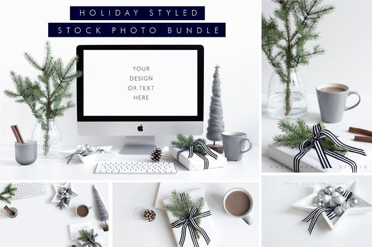 Free thru Sun! Holiday Styled Stock Bundle Grey - Product Mockups