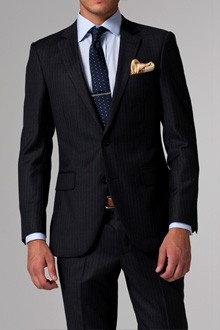 Vincero Charcoal, Red & White Pinstripe Suit