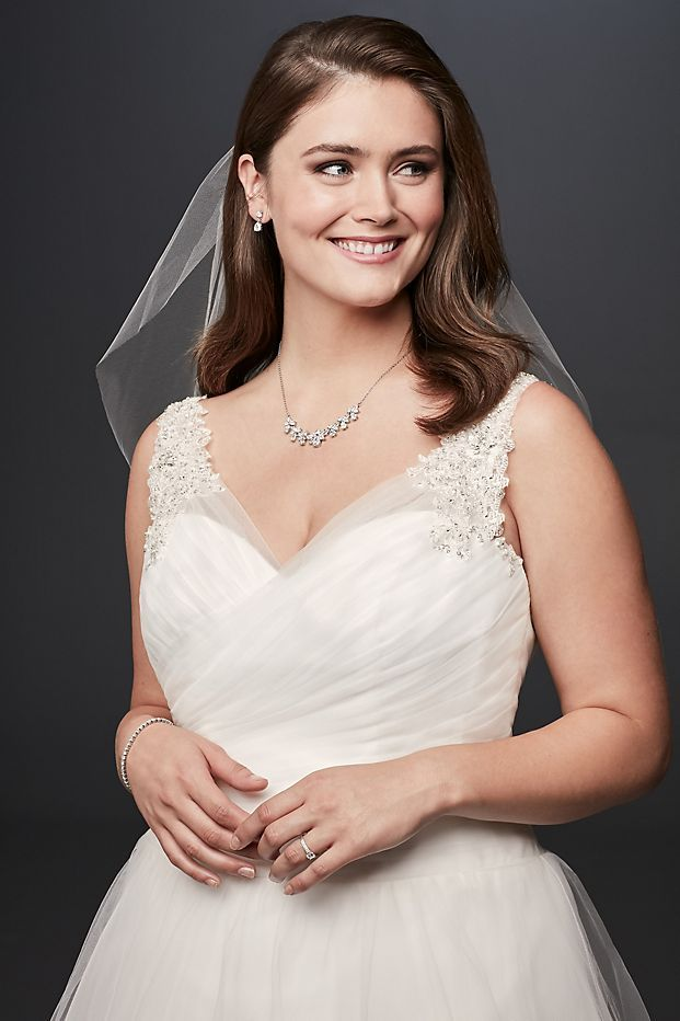 920479e7f5b Tulle Plus Size Wedding Dress with Illusion Straps