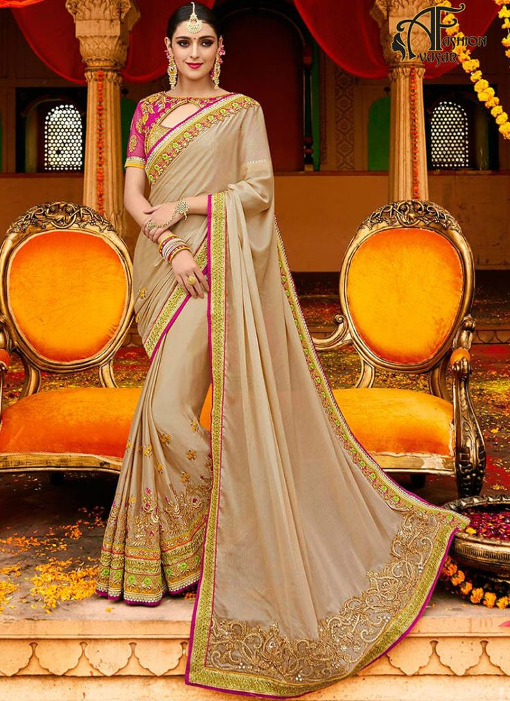 Designer Sarees Online – Brown Silk Saree India