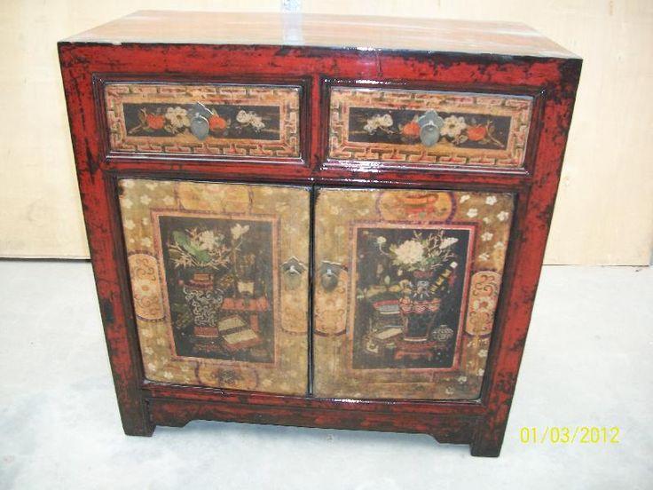 Antico mobile cinese con fronte decorato con nature morte simboleggianti le quattro stagioni, Mongolia Interna, fine '800. € 950,00
