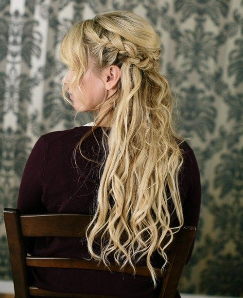 braided half updo for wavy hair