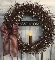 18 Inch Primitive Country Wreath W/Berries, Sign & Candle