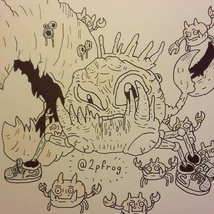 Onkonkonkononk #drawing #draw #instadraw #doodle #fanart #dessin #sketch #paint #love #graphics #art #cartoon #inktober #psychedelic #creative #dailydraw #daily #aesthetic #ink #pokemon #pokemonred #kingler #pincer #krabby #retro #crab #crabs