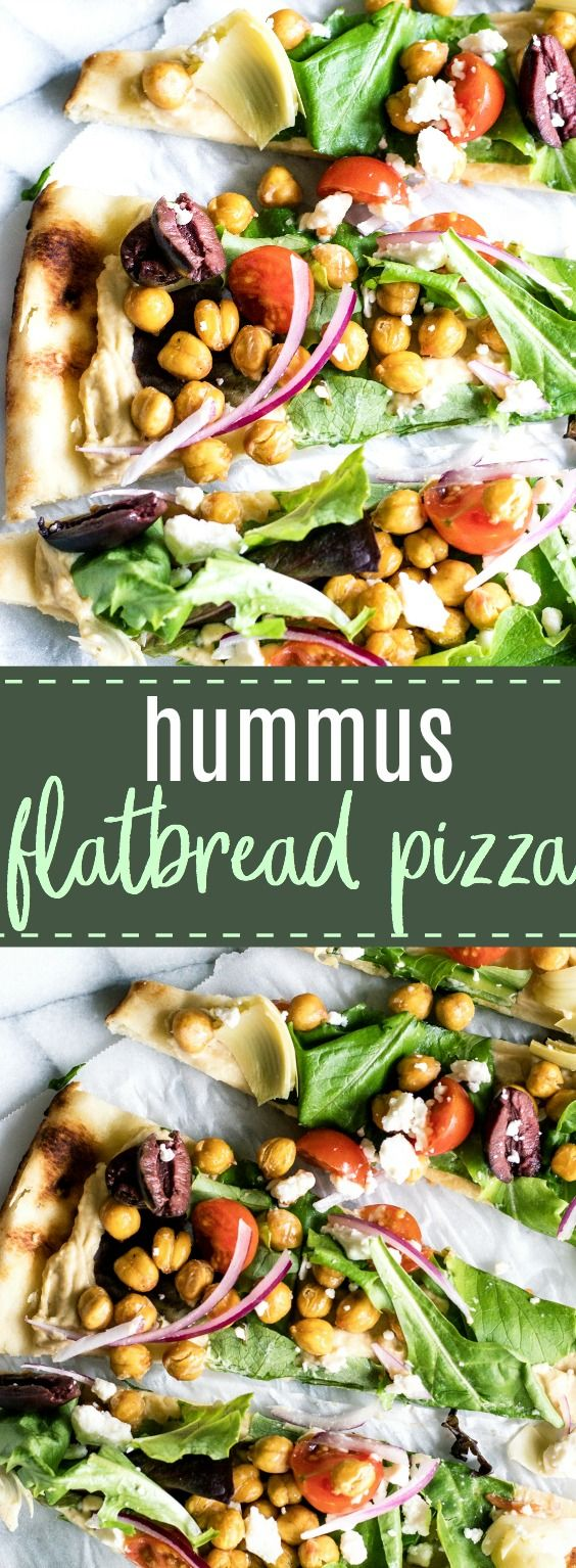 Hummus Flatbread Pizza. A quick, easy, and lighter dish perfect as a lunch, appetizer, or snack. Naan bread topped with hummus, spinach, tomatoes, artichokes, roasted chick peas and sprinkled with crumbled up feta. #light #lunch #ad #hummus #flatbread #pizza
