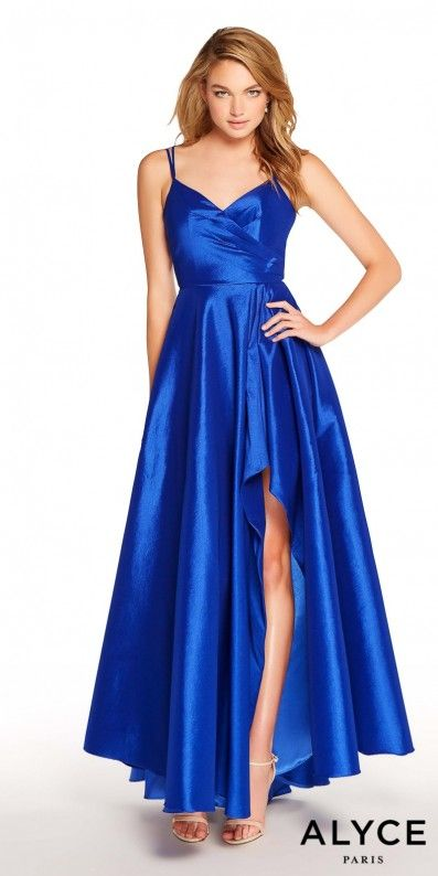 c13628e323 Step up your fashionista style and be the talk of the night in this Surplice  Pleated Low Cut Back Prom Dress by Alyce Paris.  edressme