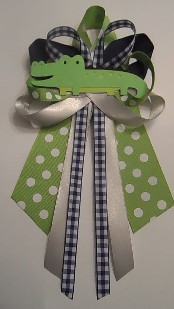 Alligator baby shower pin/corsage by diapercake4less on Etsy, $12.00