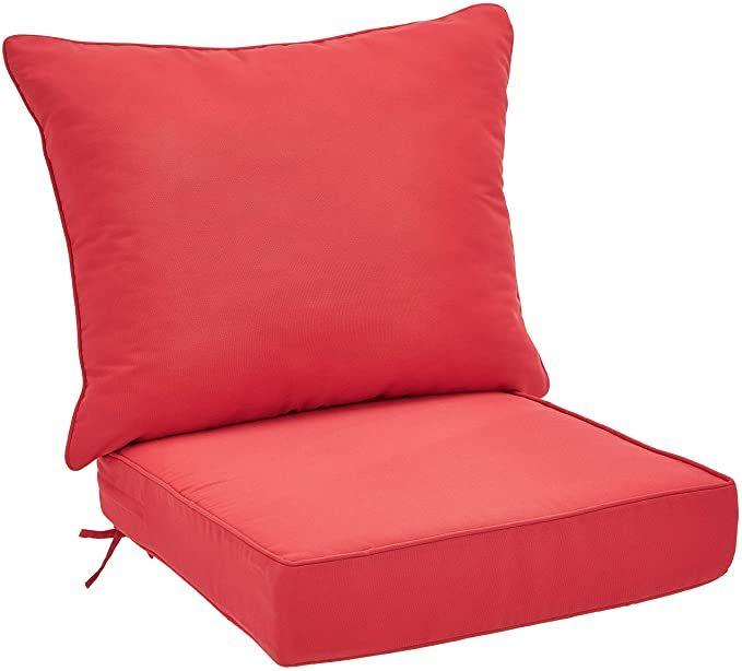 Amazon Com Amazonbasics Deep Seat Patio Seat And Back Cushion Red Garden Outdoor Deep Seating Cheap Outdoor Cushions Patio Seating