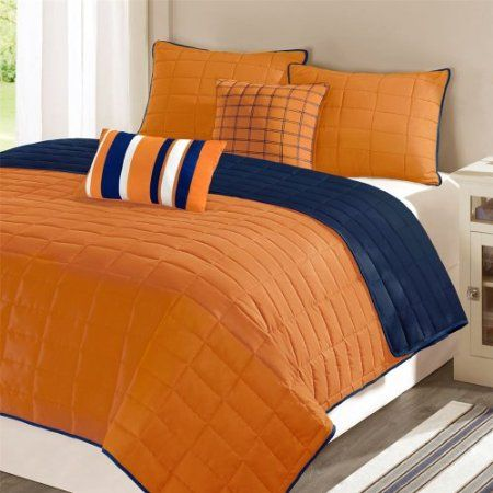 Walmart or main street lucas solid micro fiber for Blue and orange bedroom ideas