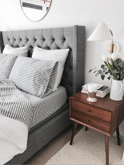 Grey upholstered bed    @liketoknow.it http://liketk.it/2qUuo #liketkit