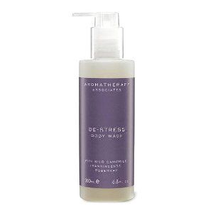 Aromatherapy Associates De-Stress Body Wash-6.76 oz. by Aromatherapy Associates. $33.00. More Worry Free Moments The world is crazy, busy and the one escape is the bath. The De-Stress Body Wash raises the bar on a relaxing bath. The calming formula eases muscle tension and warms the body with aromatic chamomile, frankincense, and rosemary. The wash is gentle enough to use from head to toe and is the perfect prelude to a good night's rest.Relaxes muscle tensionCl...