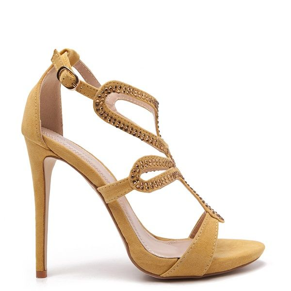 Yellow suede sandals with stilleto heel, embellished with yellow rhinestones.