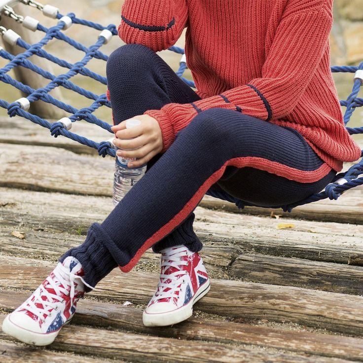 Описание вязания на спицах спортивных брюк с лампасами из журнала «Сабрина» №2/2016