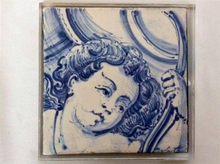L5161 - Reprodução de azulejo representando cabeça de anjo barroco, sobre placa de acrílico, com 14x14 cm - Current price: €8