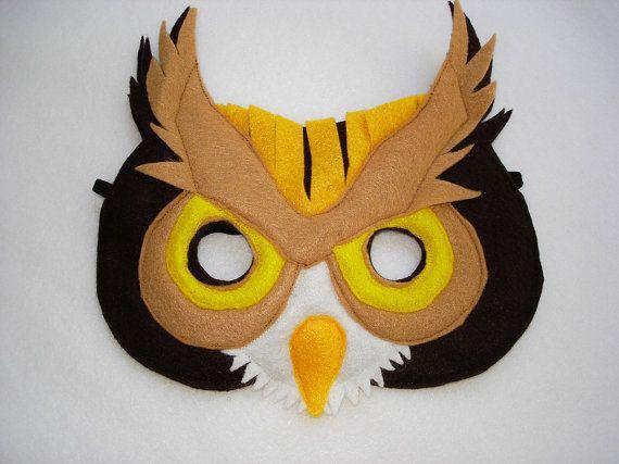Children's OWL Felt Mask by magicalattic on Etsy
