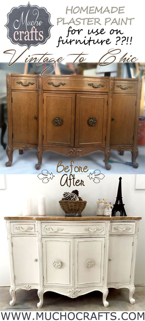 Chalk Painted Buffet + How to Make Chalk Paint - this is a beautiful piece! - via Mucho Crafts