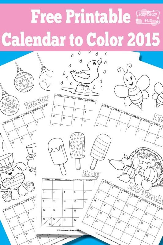 Free Printable Calendar for Kids from Itsy Bitsy Fun
