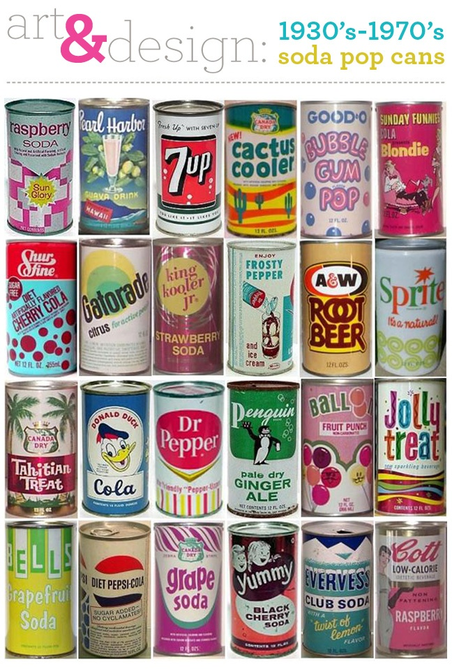 Amazing collection of vintage soda pop cans from the 30's through the 70's. I remember many of them from my childhood. Sweet!